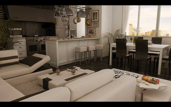 open space living room with stylist interior