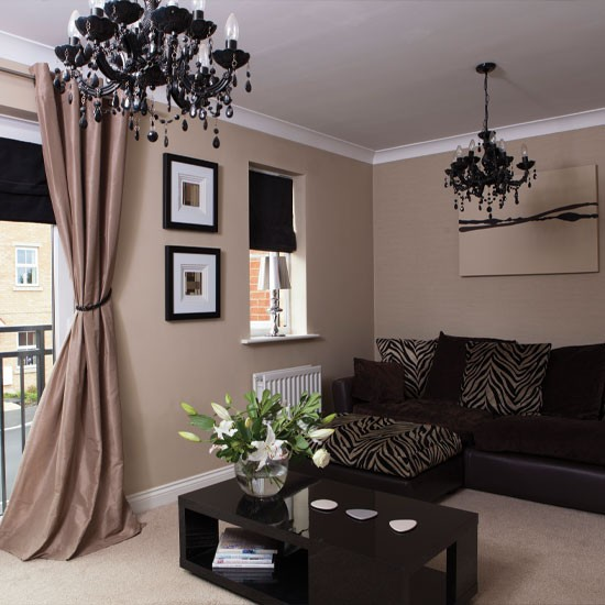 black sofa neutral living room decoration