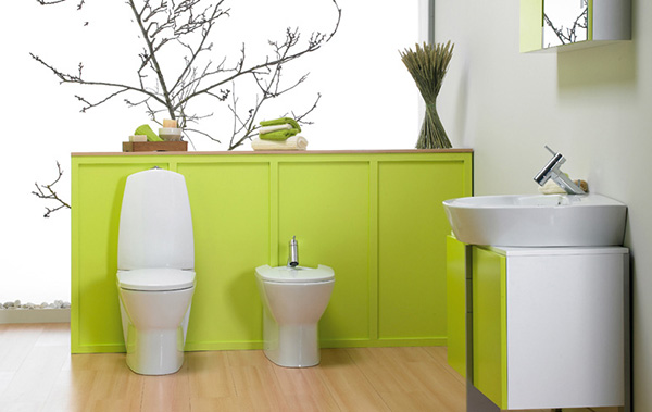 green interior decor for bathroom
