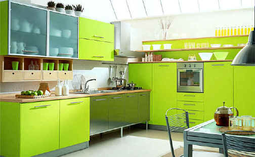 green interior decor for kitchen