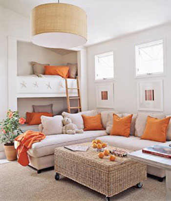 orange and white neutral living room