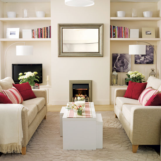 pink red warm neutral living room color