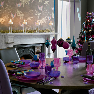 purple+pink+and+turquoise+Christmas decoration theme ideas