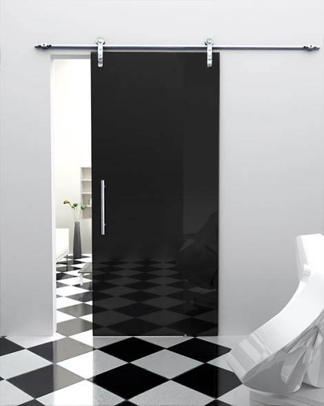 black modern glass sliding door