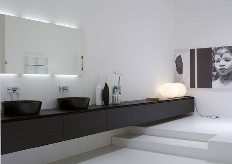 large modern bathroom mirror with lighting