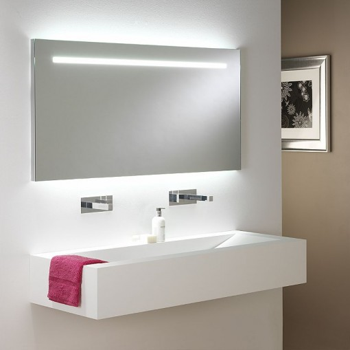 white contemporary bathroom mirror with lighting