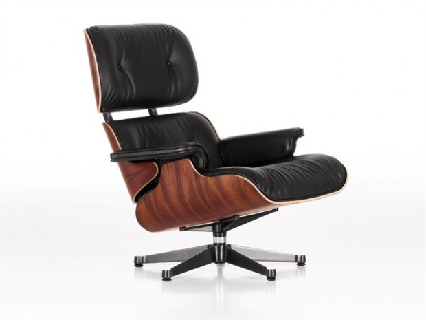 modern leather arm chair in black and white
