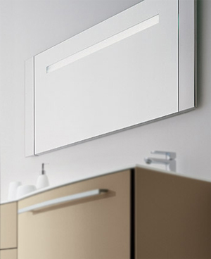 stainless steel illuminated bathroom mirror
