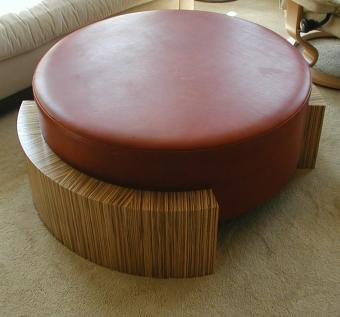 unique zebrawood and leather table