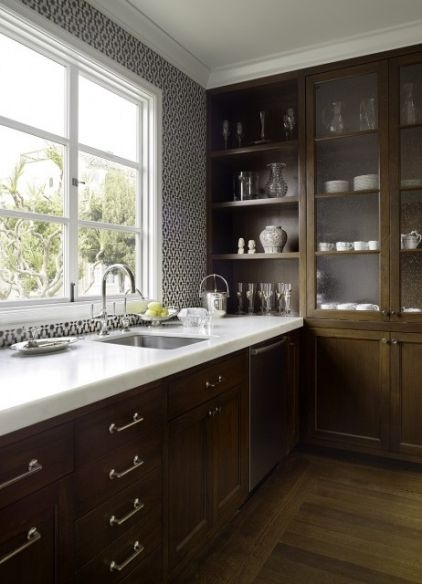 dark wood + white solid surface countertop