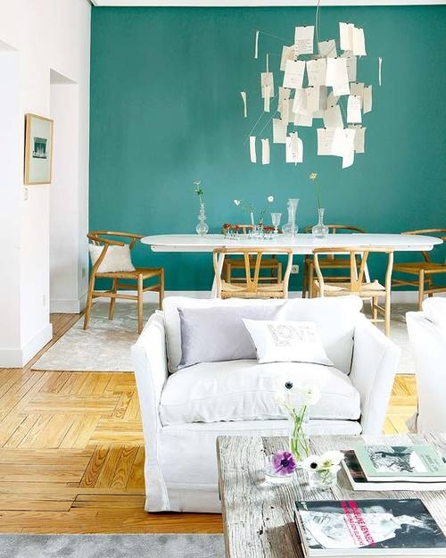 Love the green accent wall colour