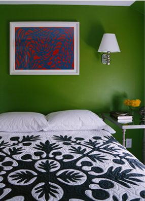 Punchy green bedroom