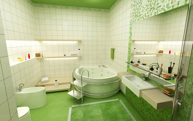 beautiful green bathroom wallpaper