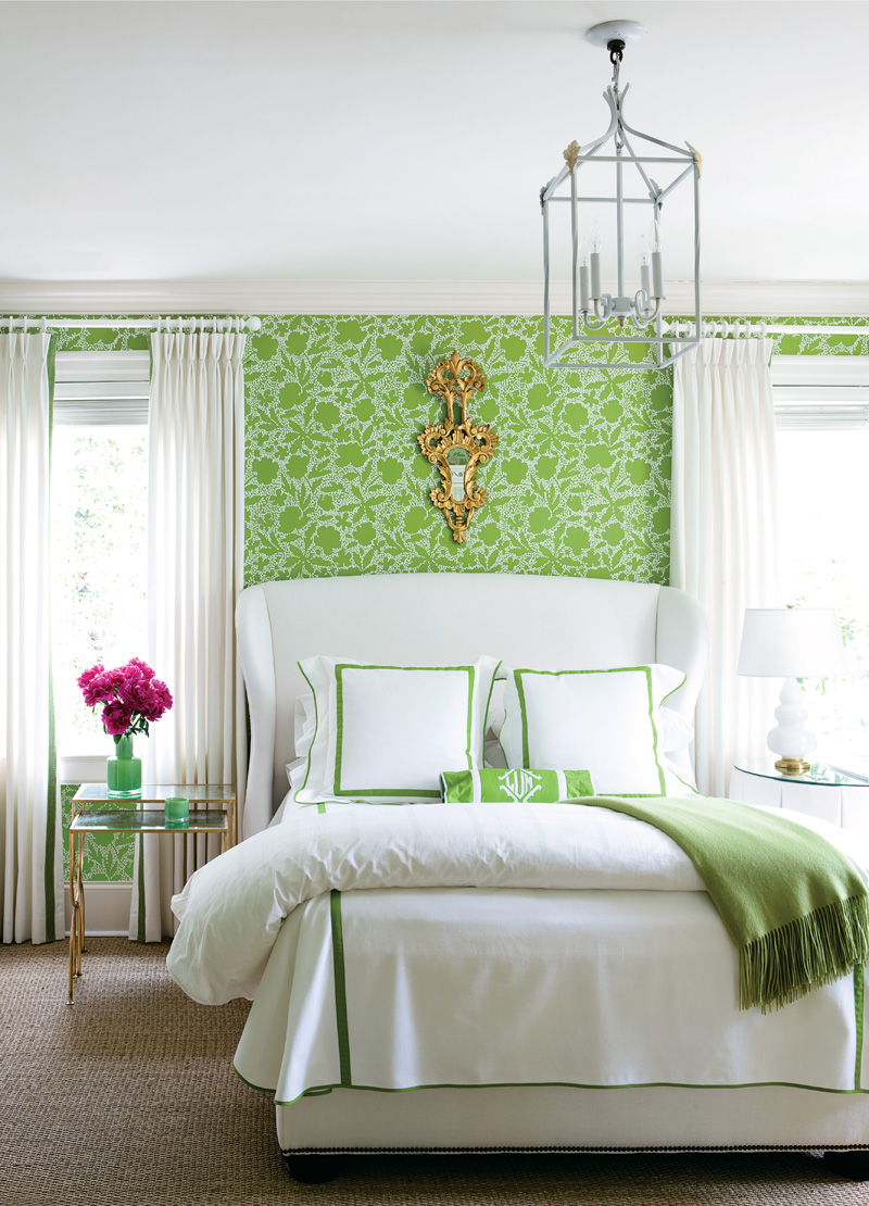 green bedroom with amazing green wallpaper