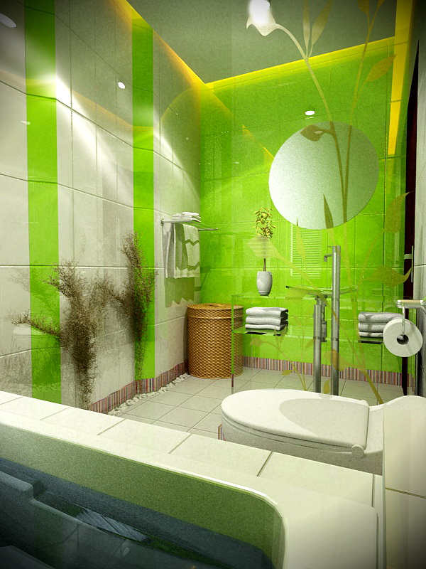 Stylish green and white bathroom design