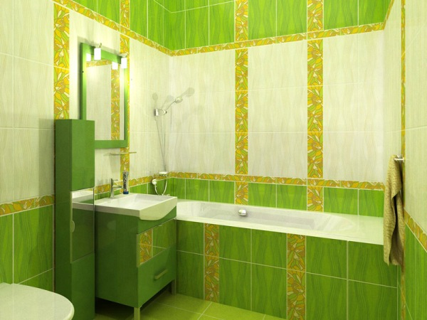 green bathroom tile simple