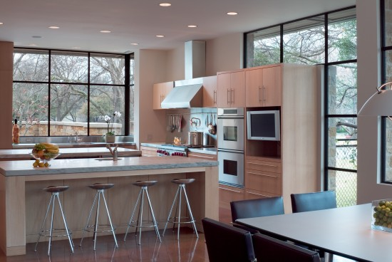 open space kitchen with double islands