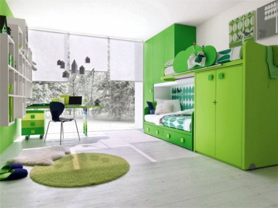 Green furniture for kids bedroom
