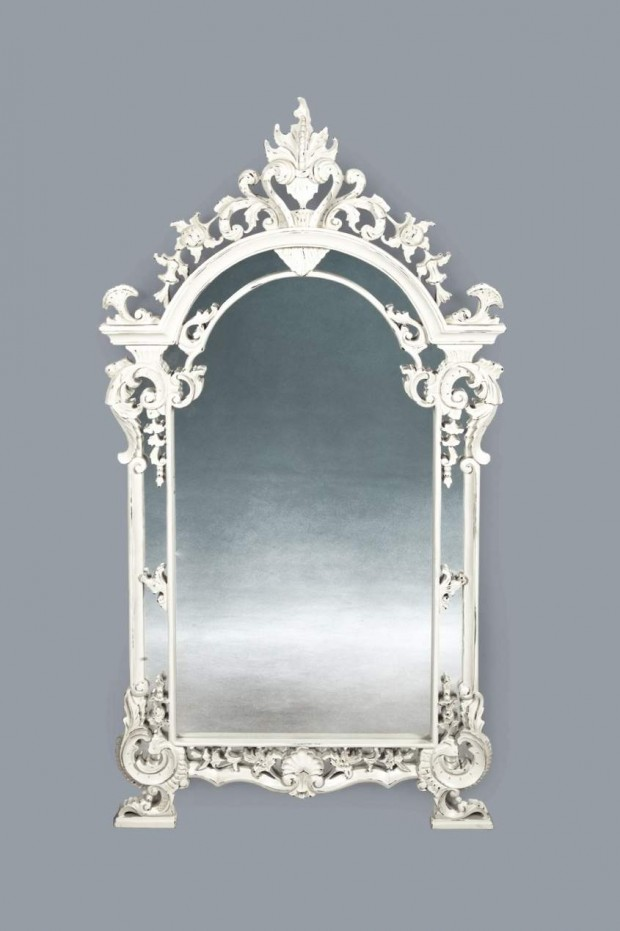 white antique decorative mirror