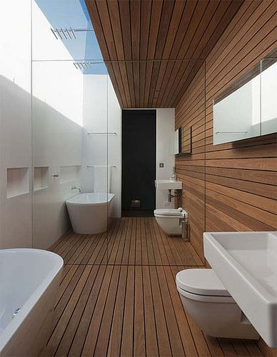 Bathroom and the bamboo and wooden floo