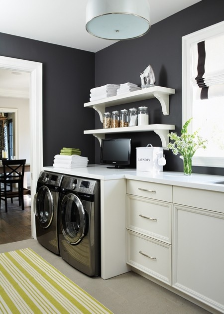 black and white laundry room storage