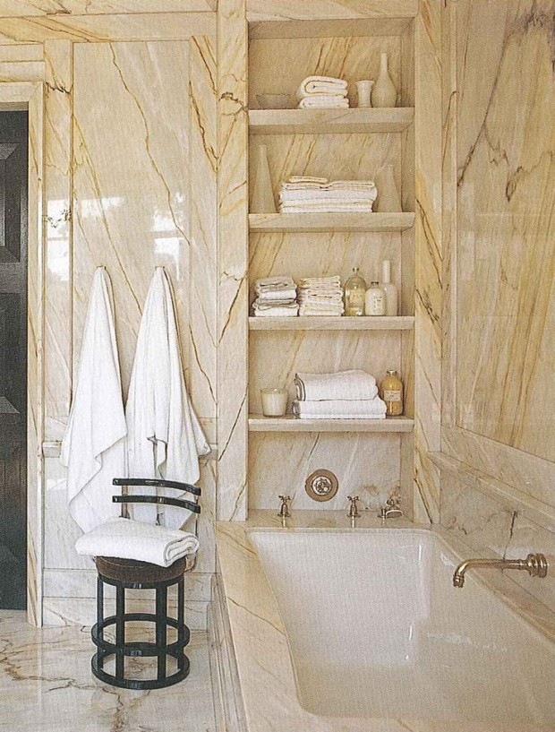 marble stone bathroom shelves by Steven Gambrel